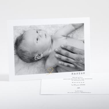 Faire-part de naissance Joli cœur doré photo