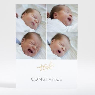 Faire-part de naissance Brindille dorée 4 photos